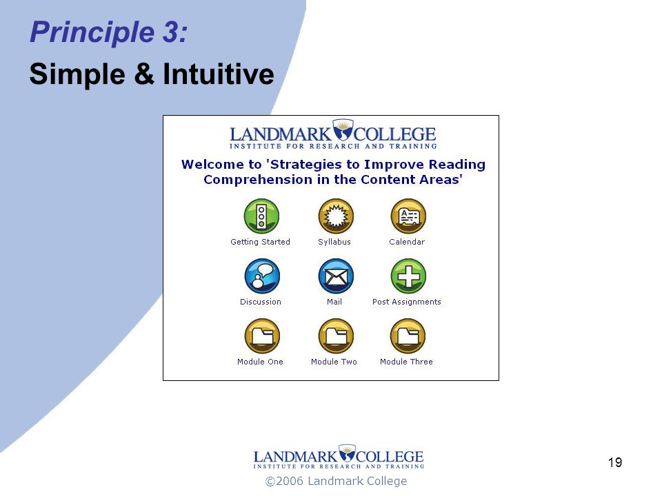 ©2006 Landmark College 19 Principle 3: Simple & Intuitive