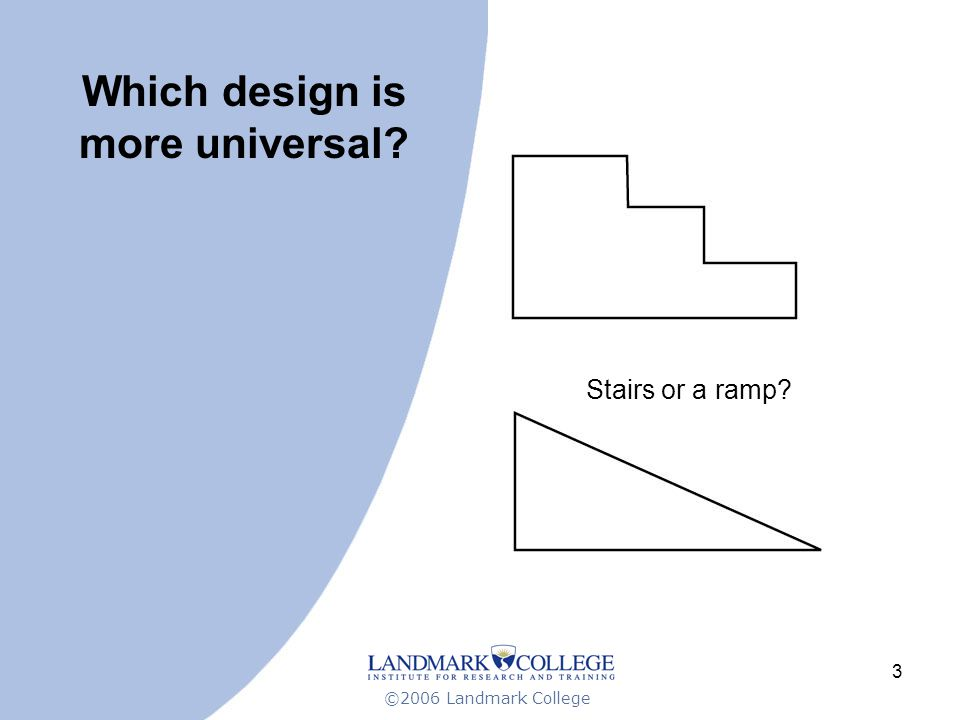 ©2006 Landmark College 3 Which design is more universal Stairs or a ramp