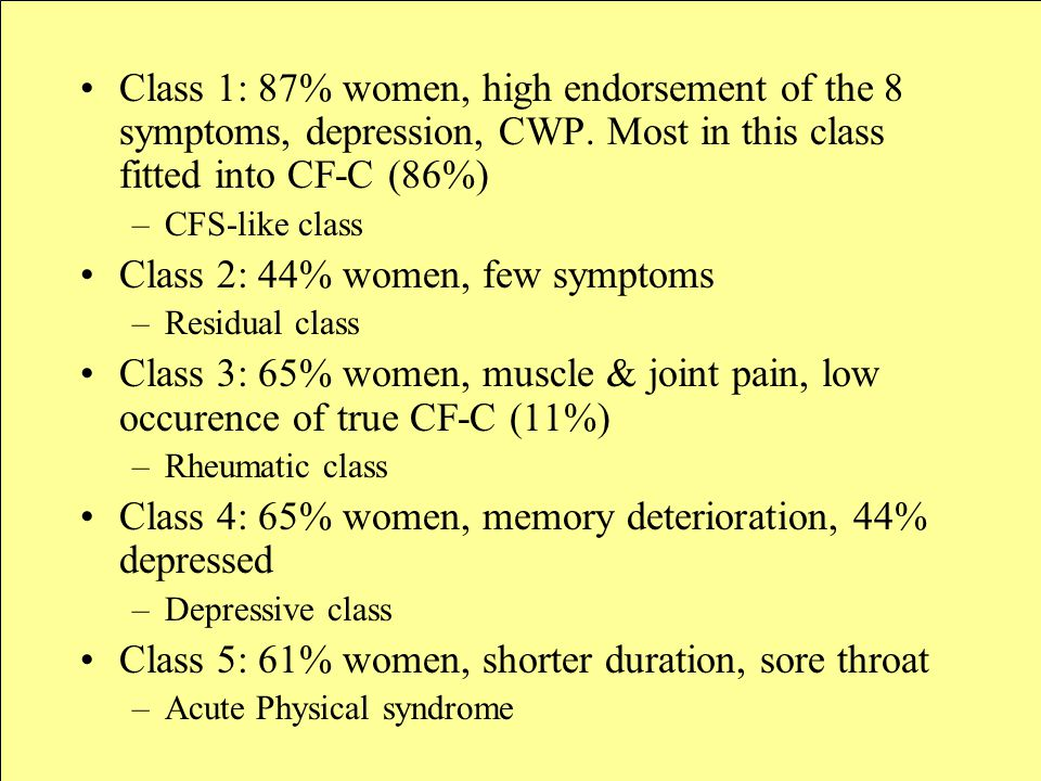 Class 1: 87% women, high endorsement of the 8 symptoms, depression, CWP.