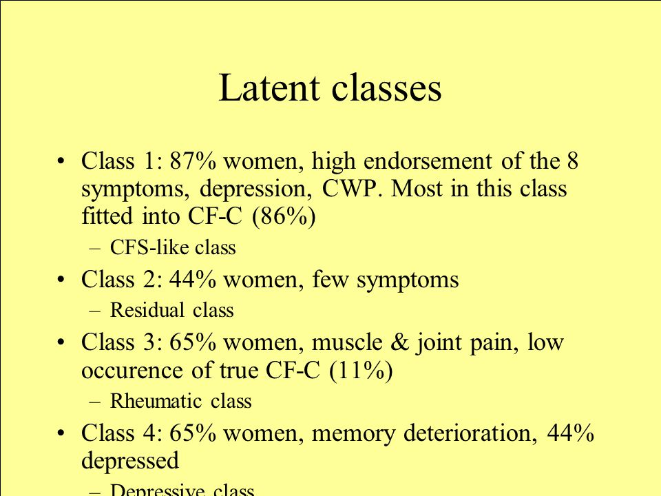 Latent classes Class 1: 87% women, high endorsement of the 8 symptoms, depression, CWP.
