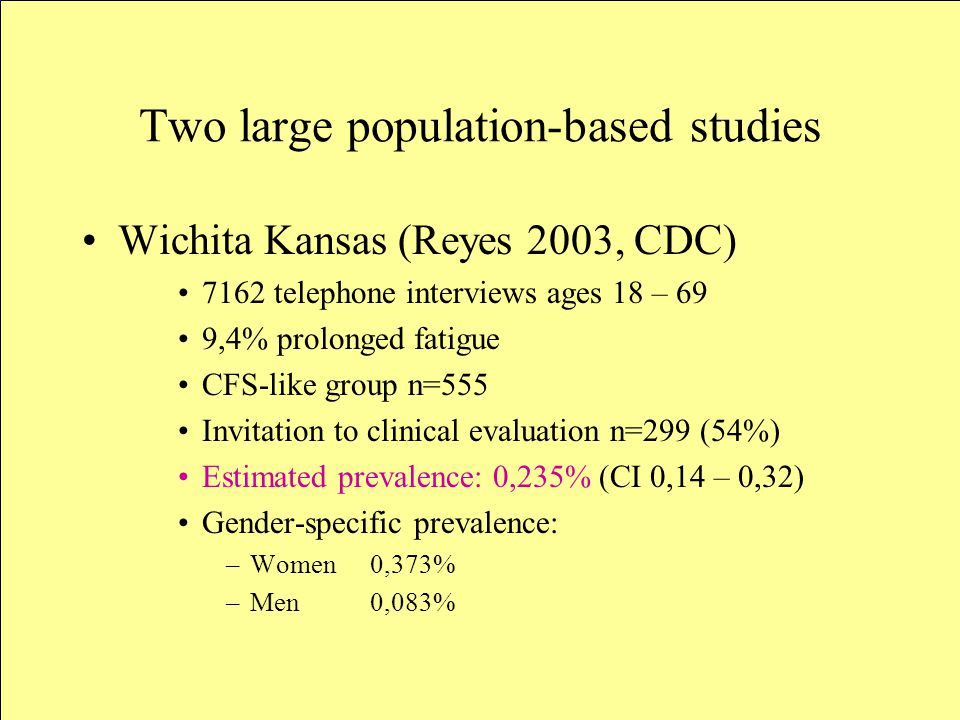 Two large population-based studies Wichita Kansas (Reyes 2003, CDC) 7162 telephone interviews ages 18 – 69 9,4% prolonged fatigue CFS-like group n=555 Invitation to clinical evaluation n=299 (54%) Estimated prevalence: 0,235% (CI 0,14 – 0,32) Gender-specific prevalence: –Women 0,373% –Men 0,083%