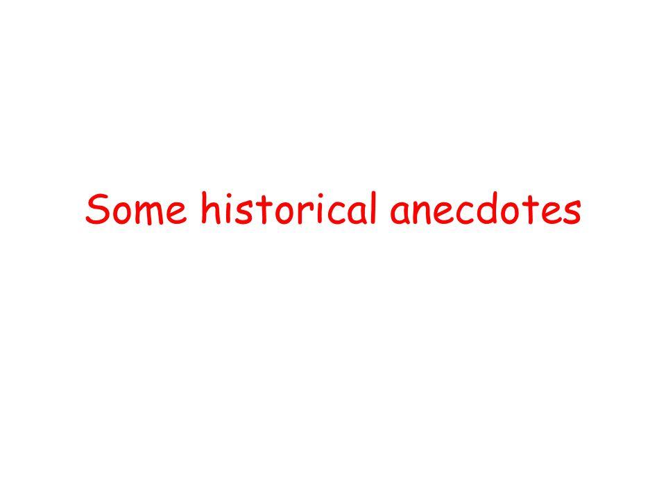 Some historical anecdotes