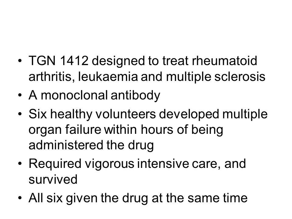 TGN 1412 designed to treat rheumatoid arthritis, leukaemia and multiple sclerosis A monoclonal antibody Six healthy volunteers developed multiple orga