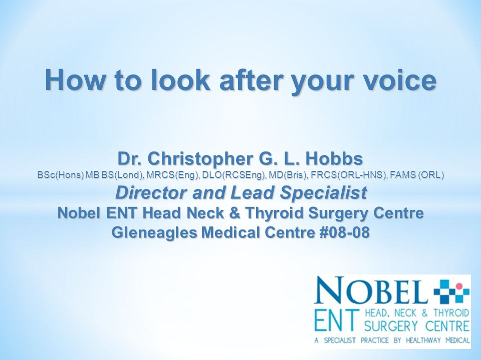 How to look after your voice Dr. Christopher G. L.