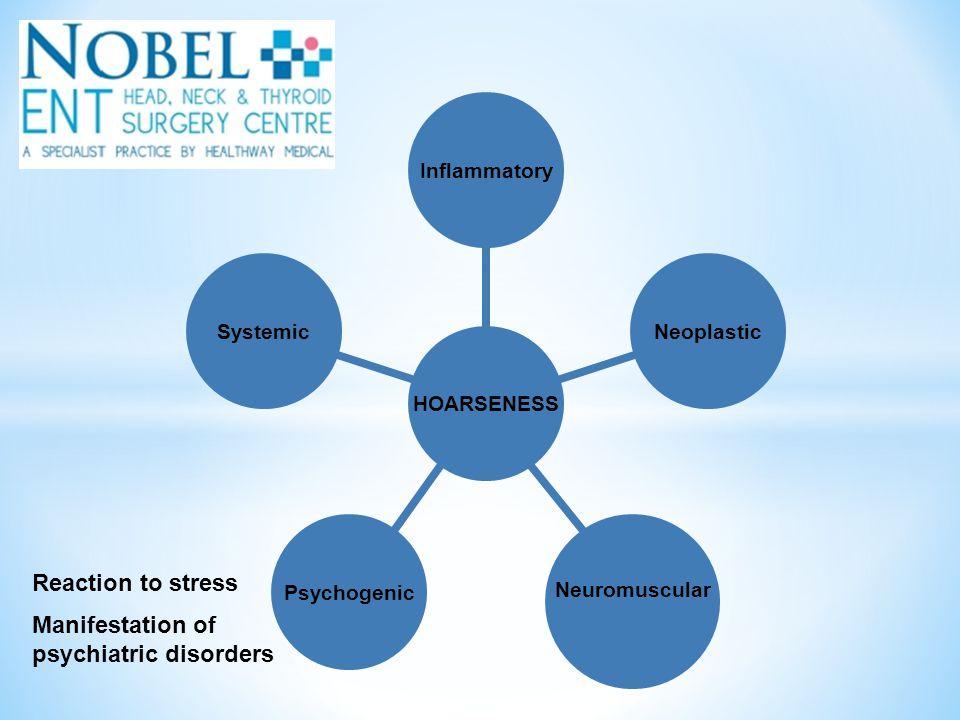 Reaction to stress Manifestation of psychiatric disorders HOARSENESS Inflammatory Neoplastic Neuromuscular PsychogenicSystemic