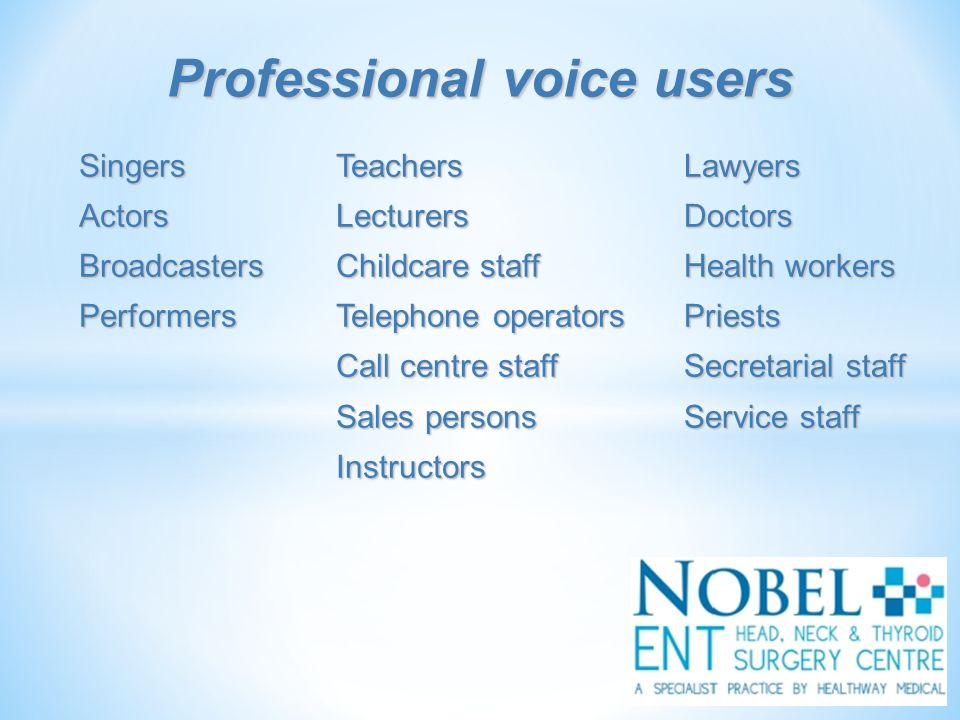 Voice problems Hoarse voice - weak, rough, or breathy voice Hoarse voice - weak, rough, or breathy voice Loss of voice Loss of voice Pain whilst talking Pain whilst talking Problems singing Problems singing Other symptoms Sore throat Sore throat Throat clearing Throat clearing Excess throat mucus Excess throat mucus Difficulty swallowing Difficulty swallowing Cough Cough Feeling of a lump in the throat Feeling of a lump in the throat Breathing difficulty or choking episodes Breathing difficulty or choking episodes Throat symptoms