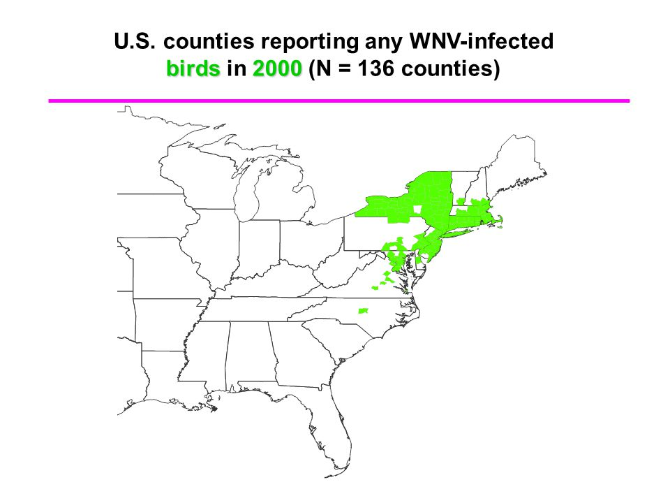 U.S. counties reporting any WNV-infected birds2000 birds in 2000 (N = 136 counties)