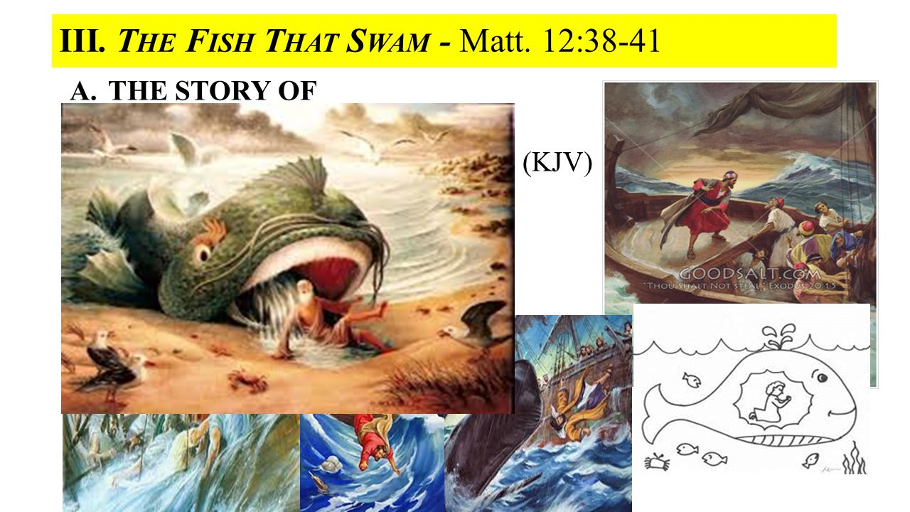 III. T HE F ISH T HAT S WAM - Matt. 12:38-41 A.THE STORY OF THE FISH THAT SWAM Or the Story of Jonah in only 48 verses (KJV) Ch. 1 Jonah Running away