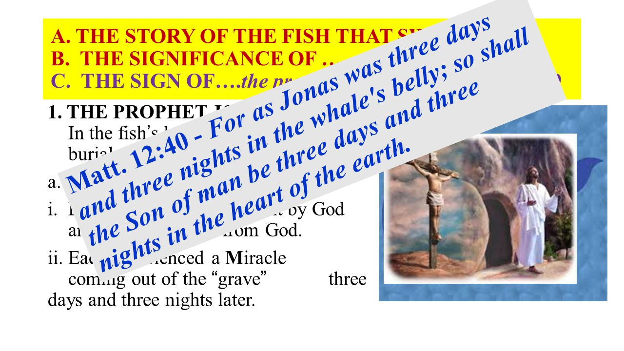 A. THE STORY OF THE FISH THAT SWAM. B. THE SIGNIFICANCE OF … C. THE SIGN OF….the prophet Jonas. Matt. 12:38, 39 1. THE PROPHET JONAH - 1:17 In the fis