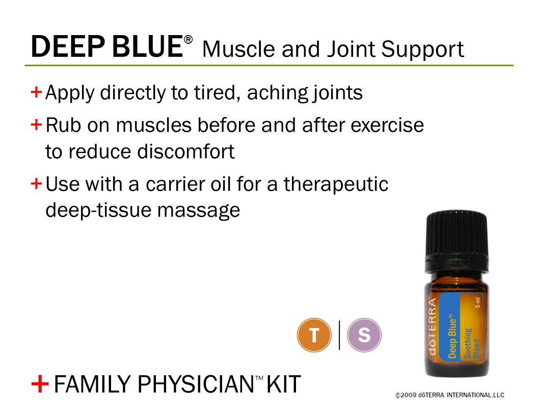 DEEP BLUE ® Muscle and Joint Support ©2009 dōTERRA INTERNATIONAL,LLC +Apply directly to tired, aching joints +Rub on muscles before and after exercise to reduce discomfort +Use with a carrier oil for a therapeutic deep-tissue massage + FAMILY PHYSICIAN ™ KIT