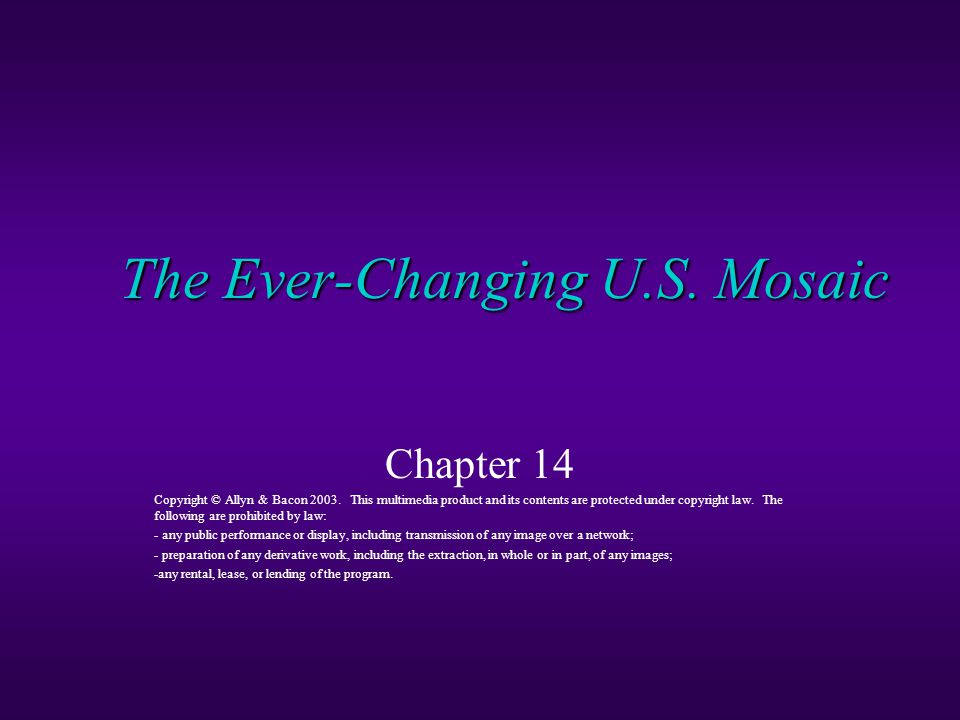 The Ever-Changing U.S. Mosaic Chapter 14 Copyright © Allyn & Bacon 2003.