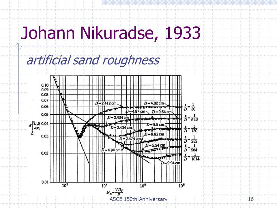 ASCE 150th Anniversary16 Johann Nikuradse, 1933 artificial sand roughness