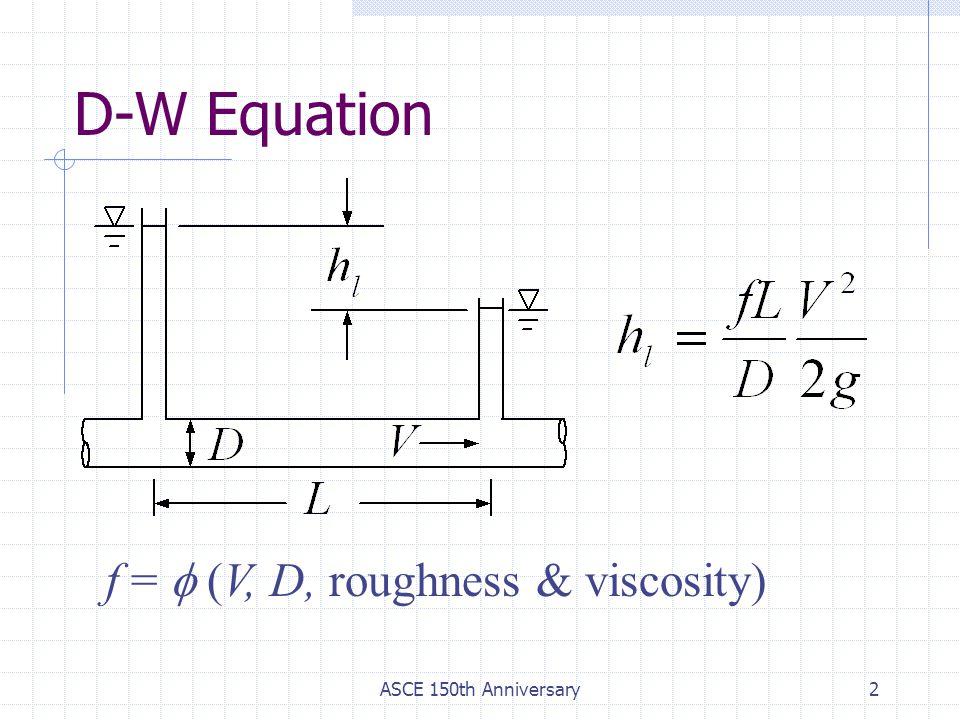 ASCE 150th Anniversary2 D-W Equation f =  (V, D, roughness & viscosity)