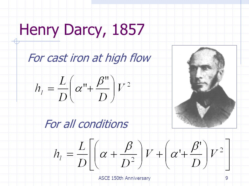 ASCE 150th Anniversary9 Henry Darcy, 1857 For cast iron at high flow For all conditions