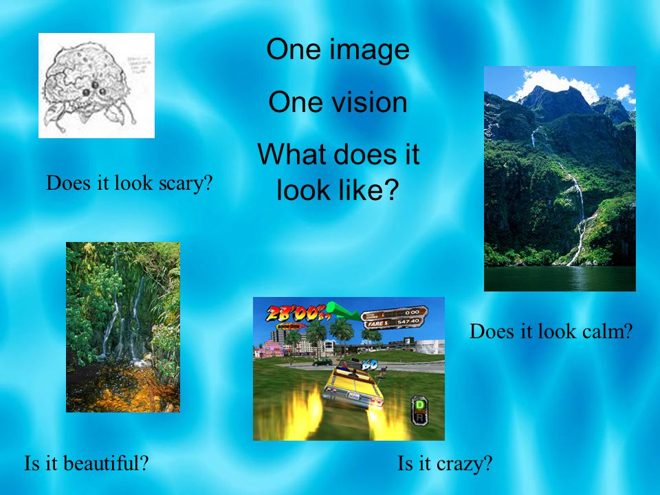 One image One vision What does it look like? Does it look scary? Does it look calm? Is it beautiful?Is it crazy?