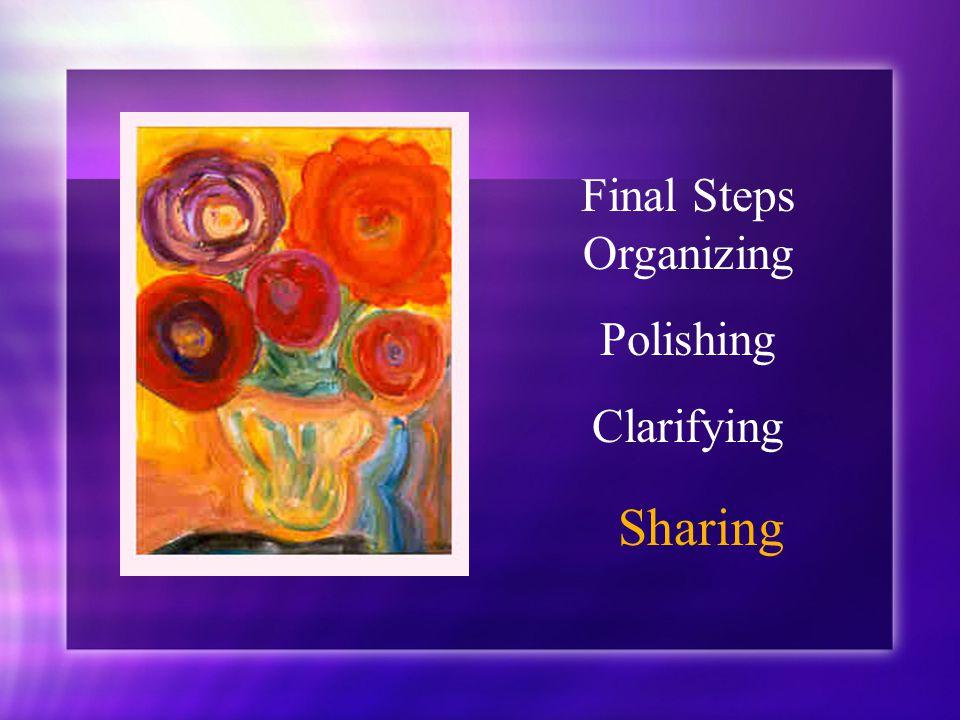 Final Steps Organizing Polishing Clarifying Sharing