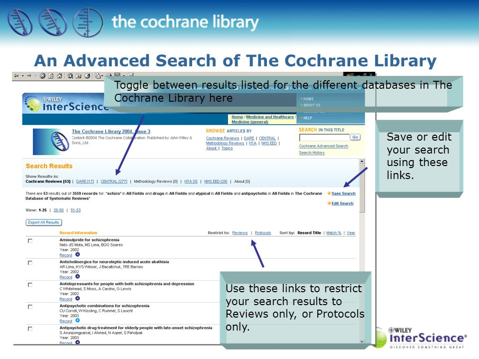 Returns the following results… Toggle between results listed for the different databases in The Cochrane Library here Use these links to restrict your search results to Reviews only, or Protocols only.