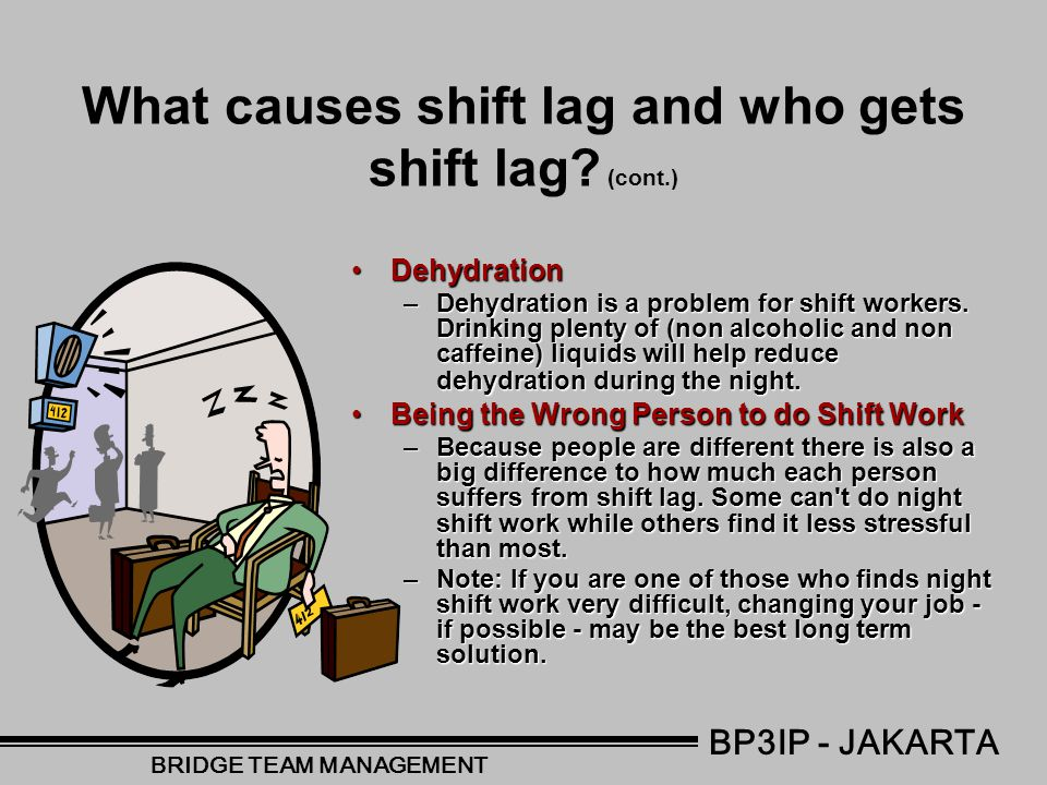 What causes shift lag and who gets shift lag? Work ScheduleWork Schedule –Evidence suggests that it best to work days, then evening and then nights ot