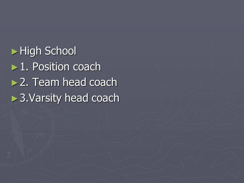 ► High School ► 1. Position coach ► 2. Team head coach ► 3.Varsity head coach