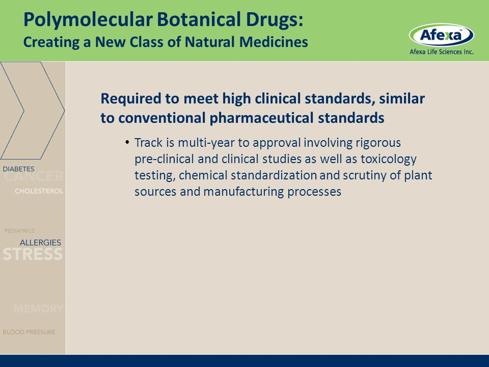 Required to meet high clinical standards, similar to conventional pharmaceutical standards Track is multi-year to approval involving rigorous pre-clinical and clinical studies as well as toxicology testing, chemical standardization and scrutiny of plant sources and manufacturing processes Polymolecular Botanical Drugs: Creating a New Class of Natural Medicines