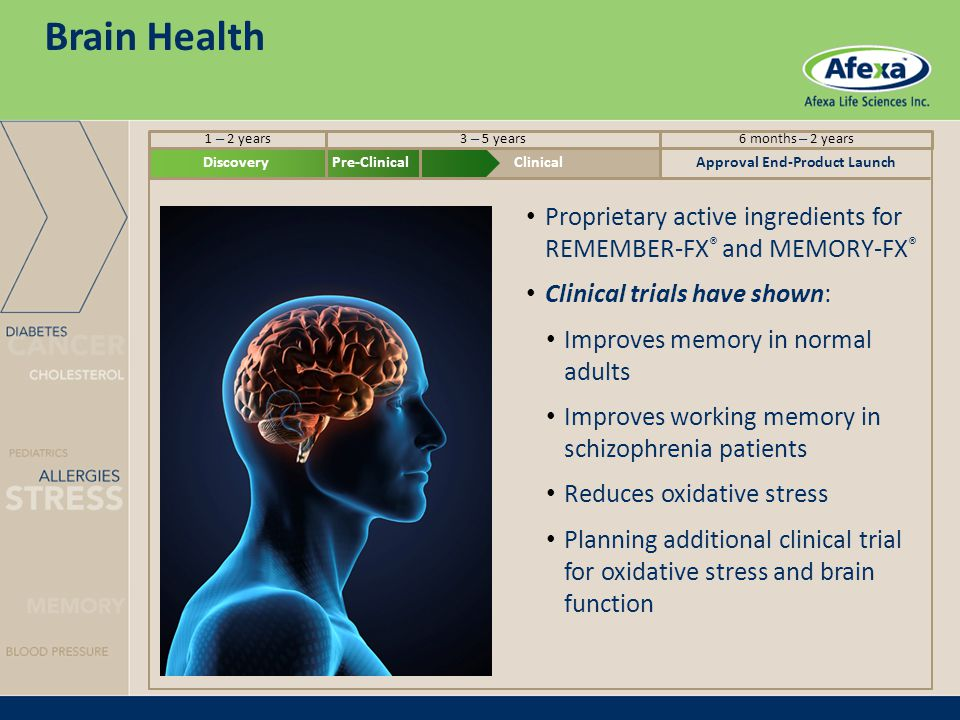 DiscoveryPre-ClinicalClinicalApproval End-Product Launch Brain Health Proprietary active ingredients for REMEMBER-FX ® and MEMORY-FX ® Clinical trials have shown: Improves memory in normal adults Improves working memory in schizophrenia patients Reduces oxidative stress Planning additional clinical trial for oxidative stress and brain function 1 – 2 years3 – 5 years6 months – 2 years