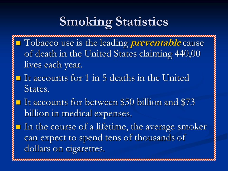 Smoking Statistics Tobacco use is the leading preventable cause of death in the United States claiming 440,00 lives each year. Tobacco use is the lead