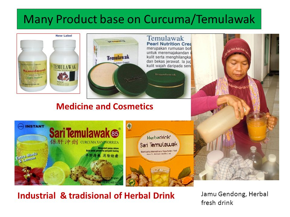 Many Product base on Curcuma/Temulawak Jamu Gendong Medicine and Cosmetics Industrial & tradisional of Herbal Drink Jamu Gendong, Herbal fresh drink