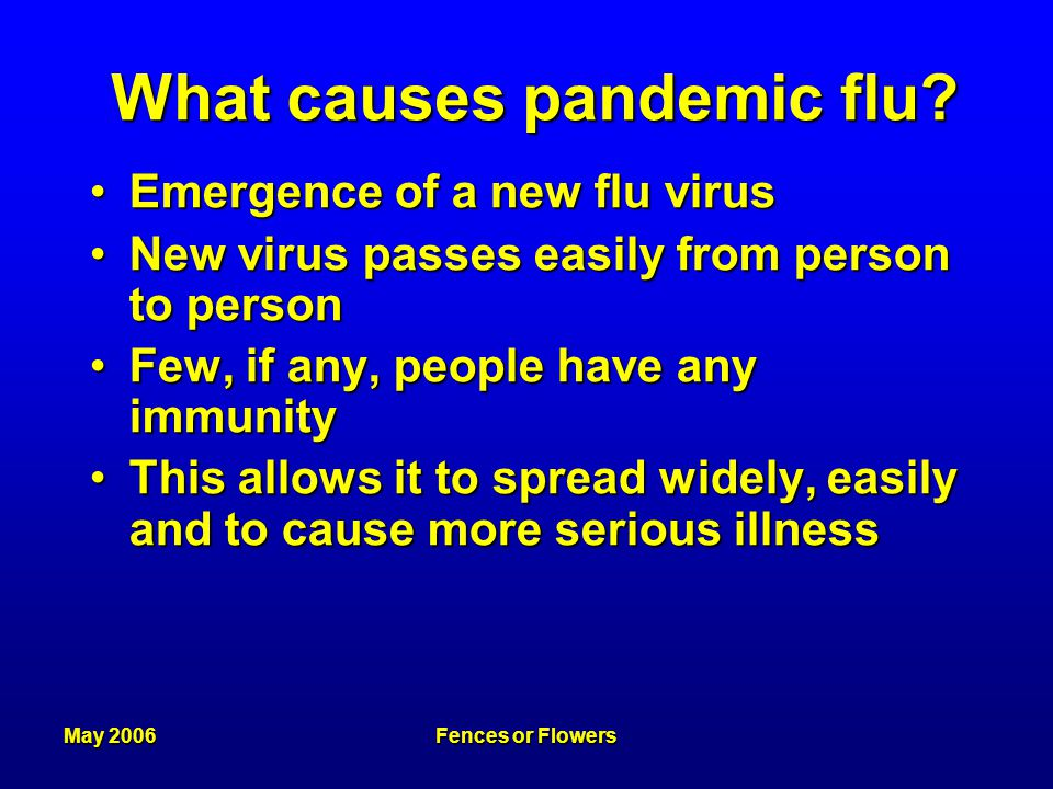 May 2006Fences or Flowers What causes pandemic flu.