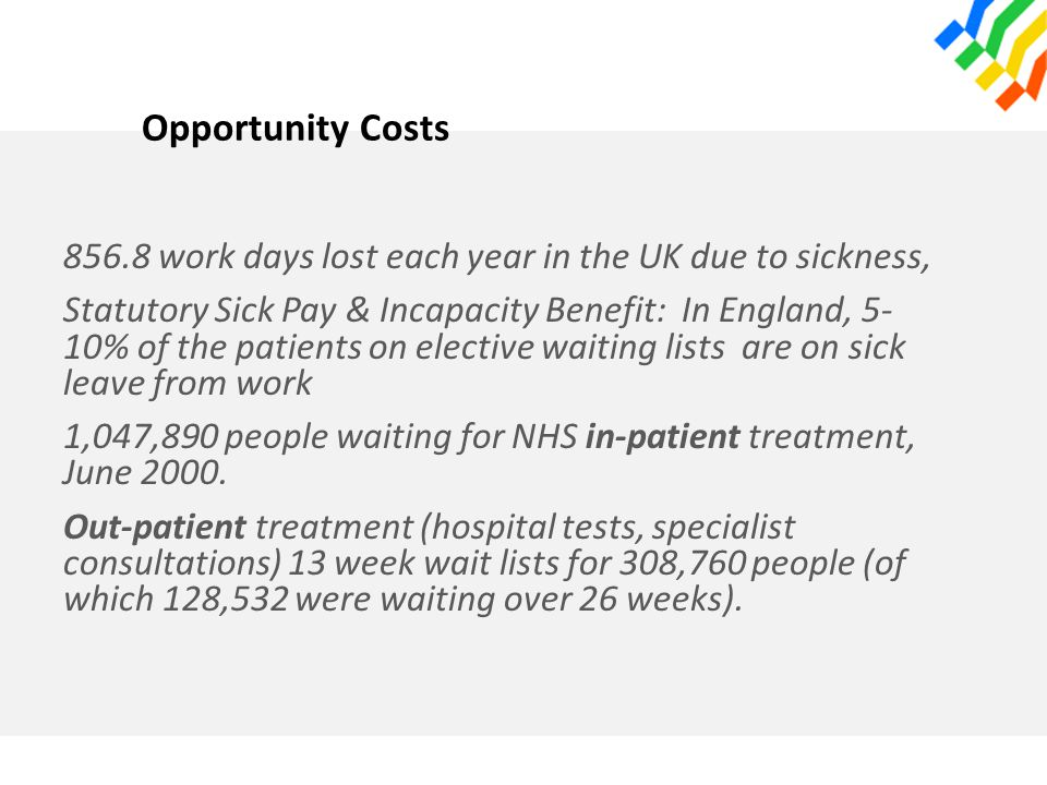 Opportunity Costs 856.8 work days lost each year in the UK due to sickness, Statutory Sick Pay & Incapacity Benefit: In England, 5- 10% of the patients on elective waiting lists are on sick leave from work 1,047,890 people waiting for NHS in-patient treatment, June 2000.