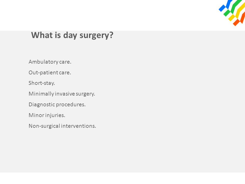 What is day surgery. Ambulatory care. Out-patient care.
