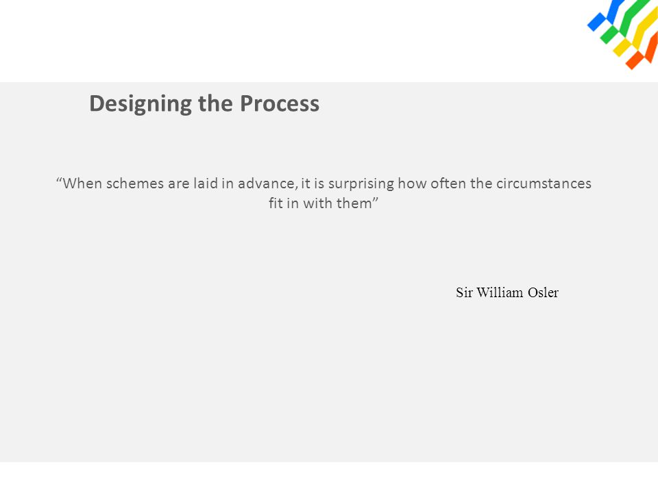 Designing the Process When schemes are laid in advance, it is surprising how often the circumstances fit in with them Sir William Osler