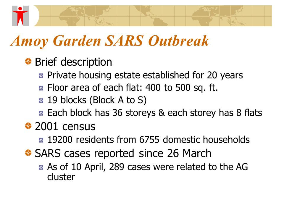 Amoy Garden SARS Outbreak Brief description Private housing estate established for 20 years Floor area of each flat: 400 to 500 sq.