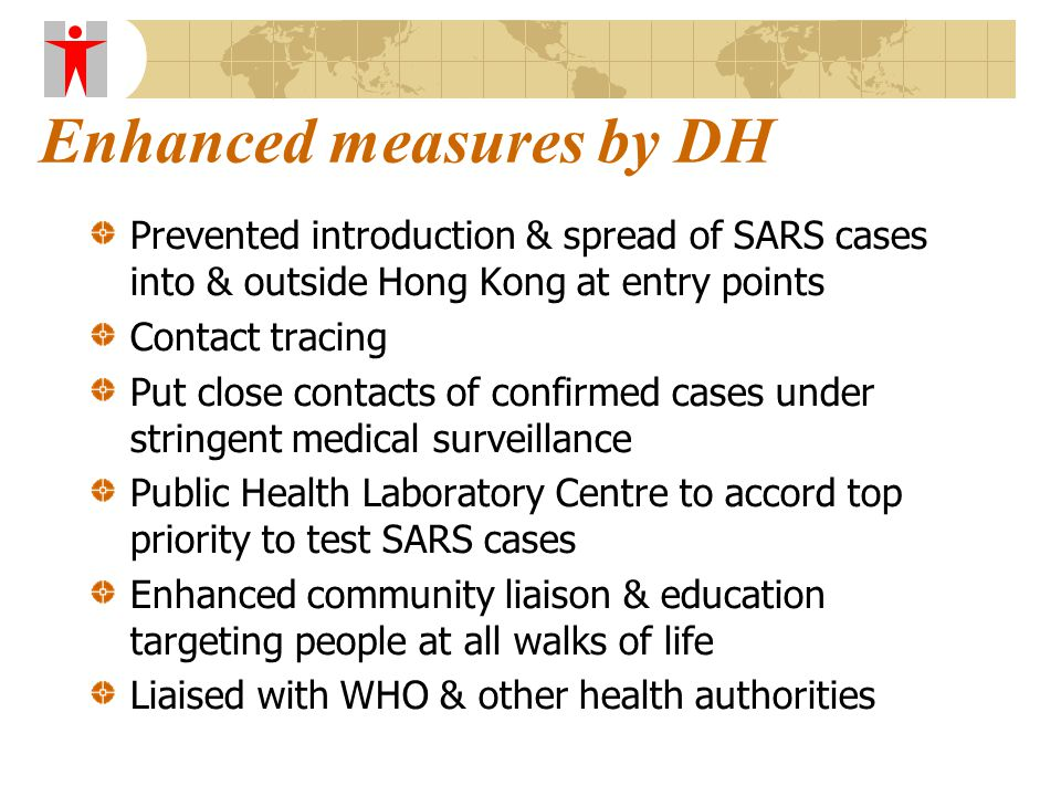 Enhanced measures by DH Prevented introduction & spread of SARS cases into & outside Hong Kong at entry points Contact tracing Put close contacts of confirmed cases under stringent medical surveillance Public Health Laboratory Centre to accord top priority to test SARS cases Enhanced community liaison & education targeting people at all walks of life Liaised with WHO & other health authorities