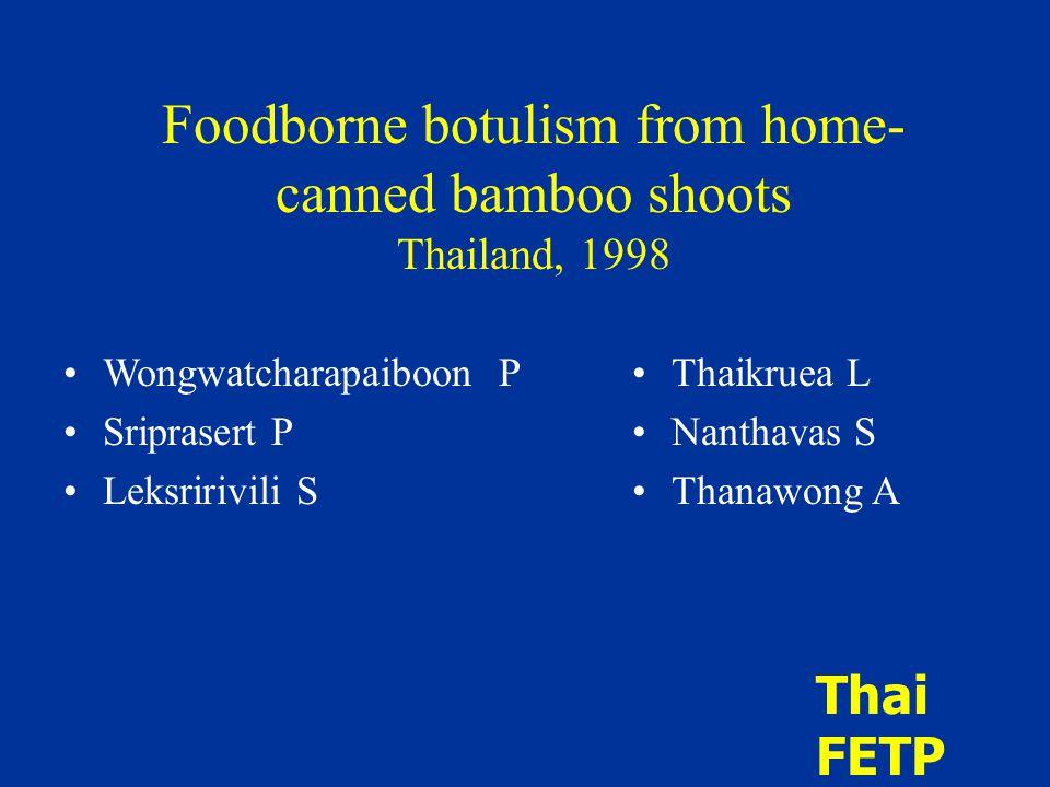 Foodborne botulism from home- canned bamboo shoots Thailand, 1998 Wongwatcharapaiboon P Sriprasert P Leksririvili S Thaikruea L Nanthavas S Thanawong A Thai FETP