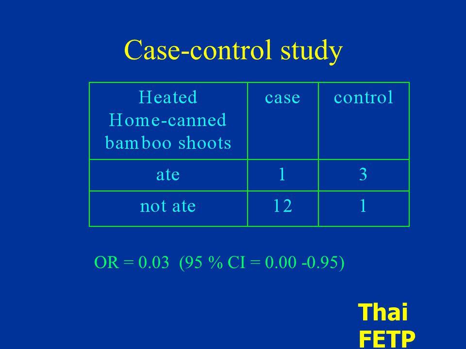 Case-control study OR = 0.03 (95 % CI = 0.00 -0.95) Thai FETP