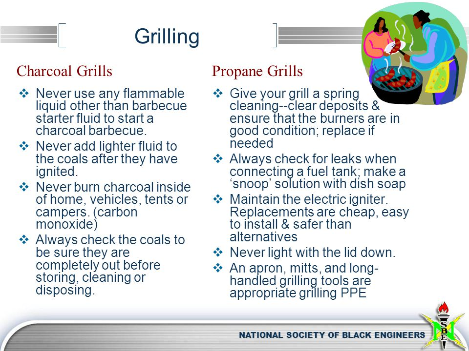 NATIONAL SOCIETY OF BLACK ENGINEERS Grilling  Never use any flammable liquid other than barbecue starter fluid to start a charcoal barbecue.  Never