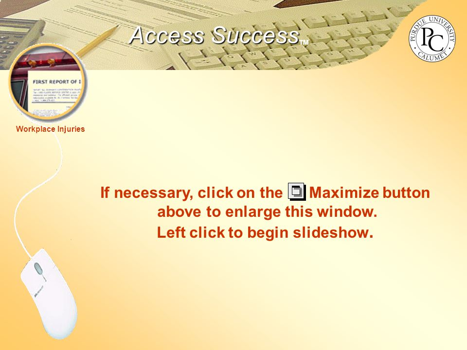 Access Success Access Success TM Workplace Injuries If necessary, click on the Maximize button above to enlarge this window.