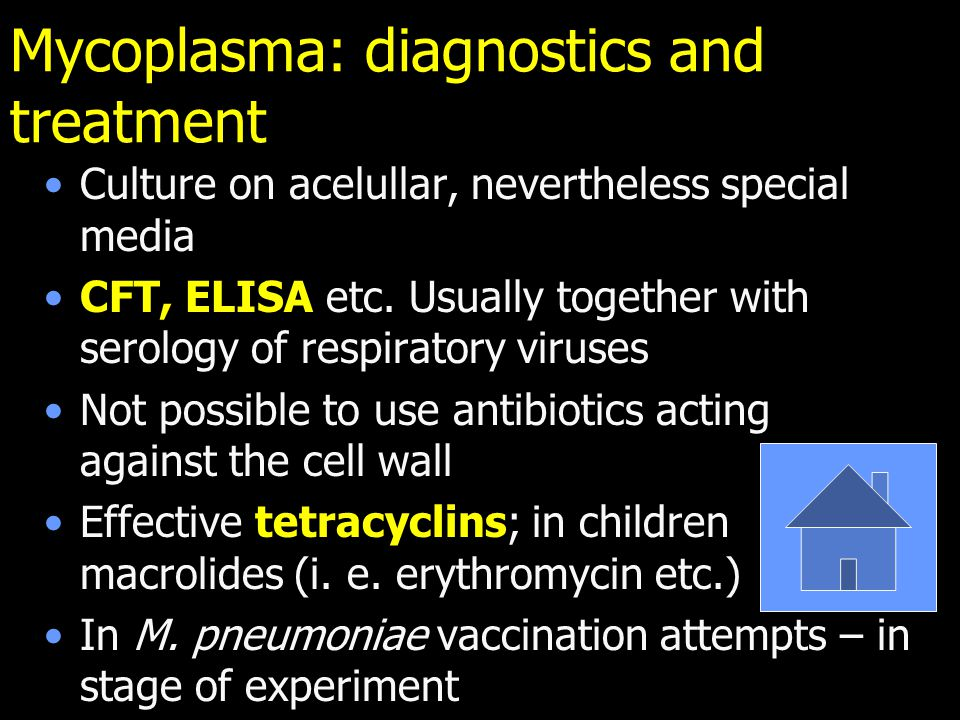 Mycoplasma: diagnostics and treatment Culture on acelullar, nevertheless special media CFT, ELISA etc.