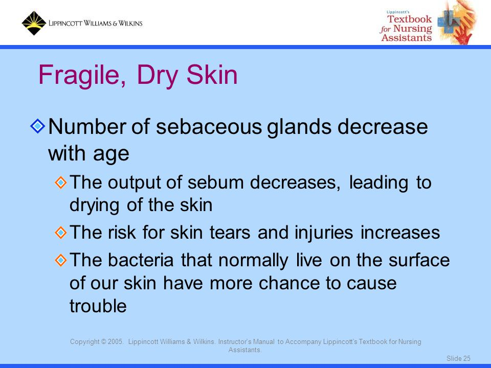 Slide 25 Copyright © 2005. Lippincott Williams & Wilkins. Instructor's Manual to Accompany Lippincott's Textbook for Nursing Assistants. Number of seb