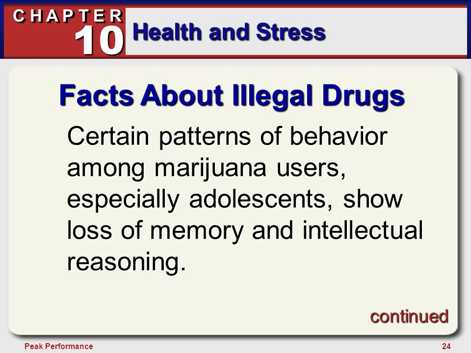 24Peak Performance C H A P T E R Health and Stress 10 Facts About Illegal Drugs Certain patterns of behavior among marijuana users, especially adolesc