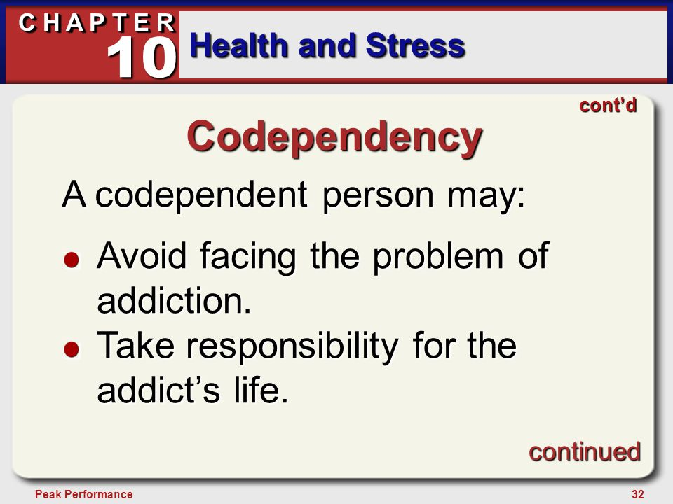 32Peak Performance C H A P T E R Health and Stress 10 Codependency A codependent person may: Avoid facing the problem of addiction. Take responsibilit