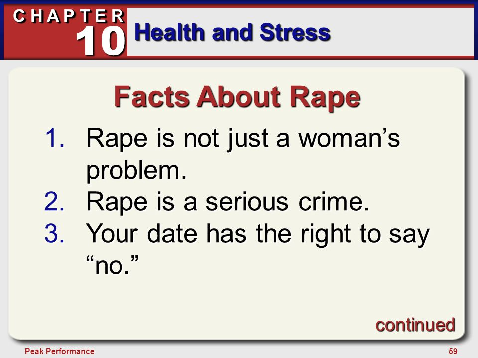 59Peak Performance C H A P T E R Health and Stress 10 Facts About Rape 1.Rape is not just a woman's problem. 2.Rape is a serious crime. 3.Your date ha