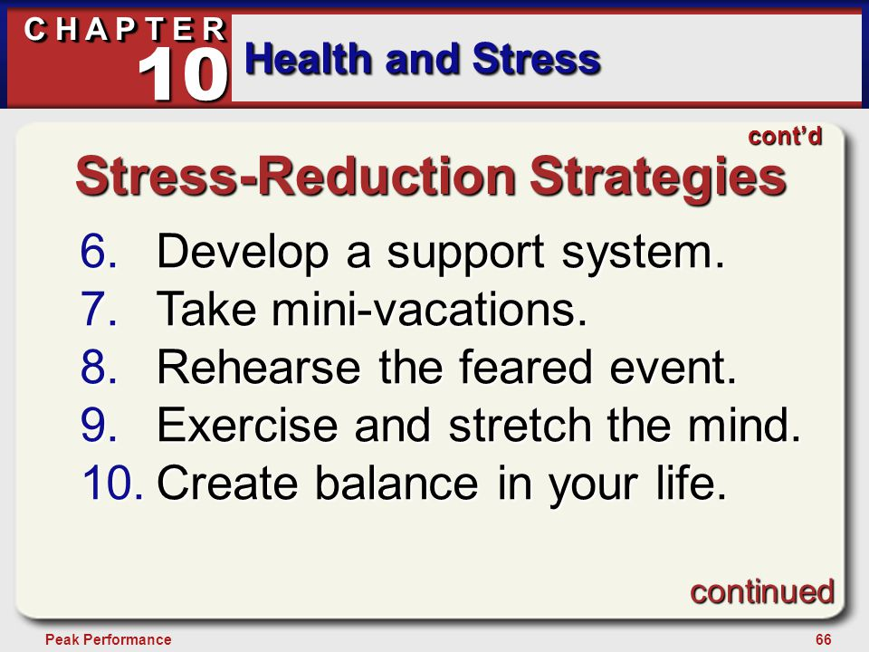 66Peak Performance C H A P T E R Health and Stress 10 Stress-Reduction Strategies 6.Develop a support system. 7.Take mini-vacations. 8.Rehearse the fe