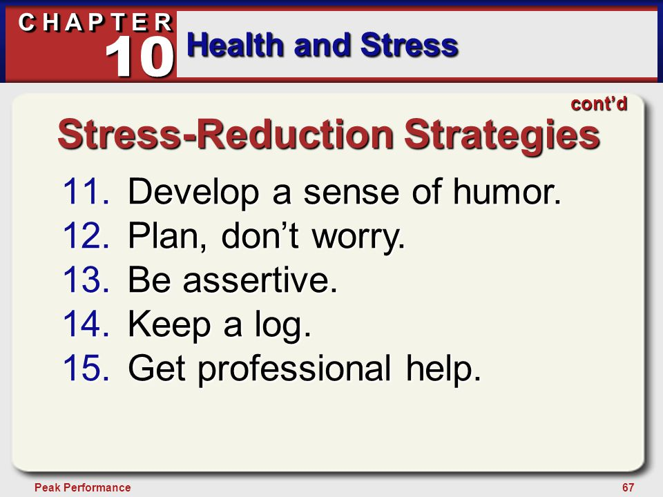 67Peak Performance C H A P T E R Health and Stress 10 Stress-Reduction Strategies 11.Develop a sense of humor. 12.Plan, don't worry. 13.Be assertive.