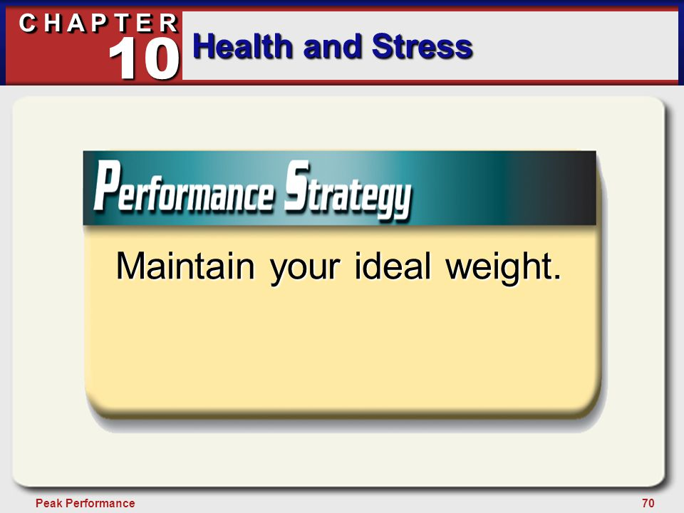 70Peak Performance C H A P T E R Health and Stress 10 Maintain your ideal weight.