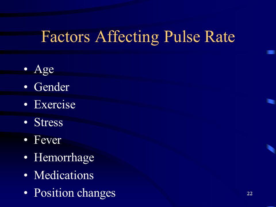 22 Factors Affecting Pulse Rate Age Gender Exercise Stress Fever Hemorrhage Medications Position changes