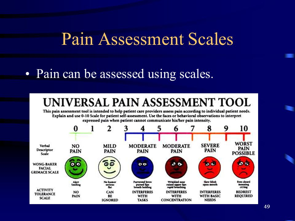 Pain Assessment Scales Pain can be assessed using scales. 49