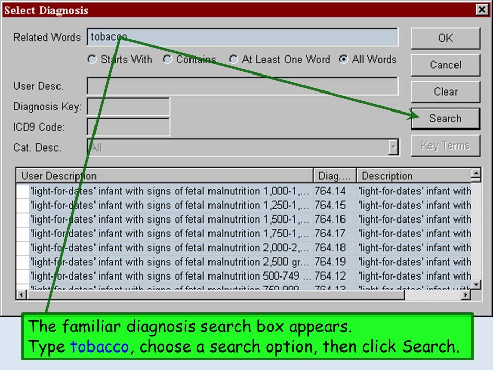 The familiar diagnosis search box appears. Type tobacco, choose a search option, then click Search.