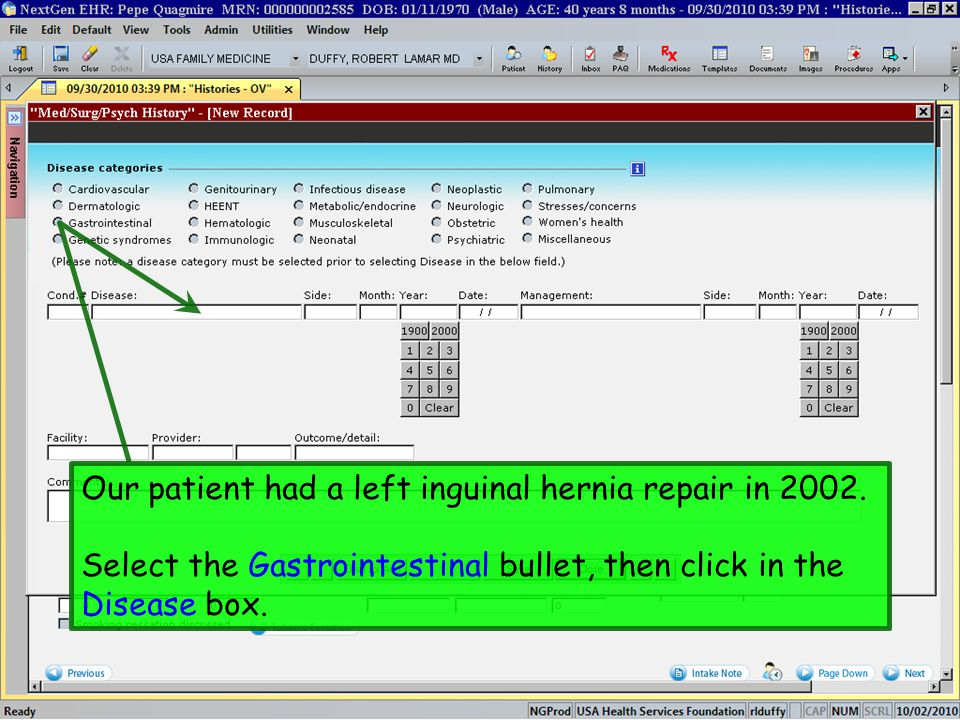 Our patient had a left inguinal hernia repair in 2002. Select the Gastrointestinal bullet, then click in the Disease box.