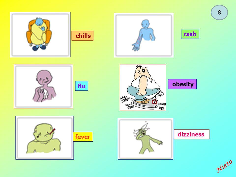 Diseases / illnesses / sicknesses I/You/We/They HAVE He /She HAS a stomachache a toothache a backache a headache an earache a burn NIETO 7